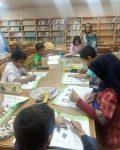 برگزاری دوره های تابستانه قصه خوانی و پخش انیمیشن کودک درکتابخانه حسینیه اعظم لار